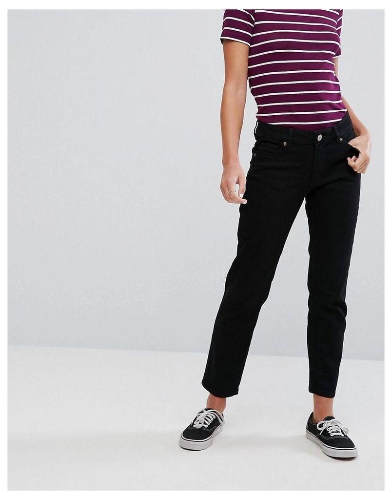 Monki Monokomi Cropped Straight Jeans - Black