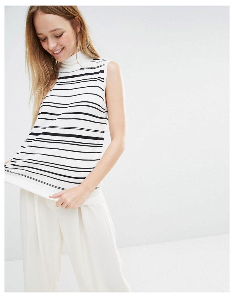 Monki Knitted Sleeveless High Neck Tank - Stripe