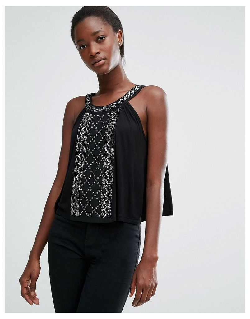 French Connection Stone High Neck Vest Top - Black
