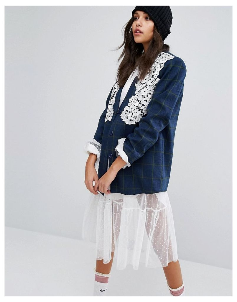 STYLENANDA Blazer With Lace Overlay in Check - Blue