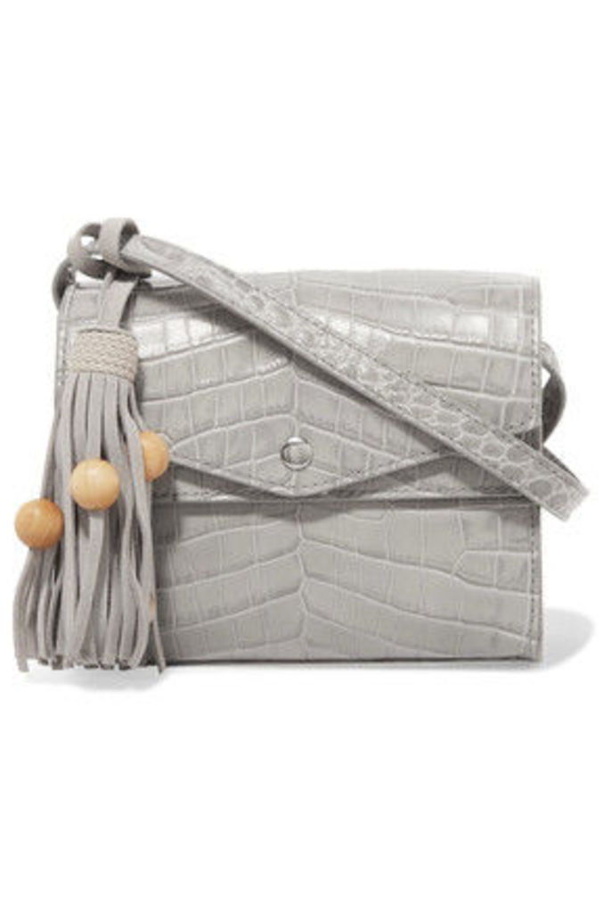 Elizabeth and James - Eloise Tasseled Croc-effect Glossed-leather Shoulder Bag - Light gray