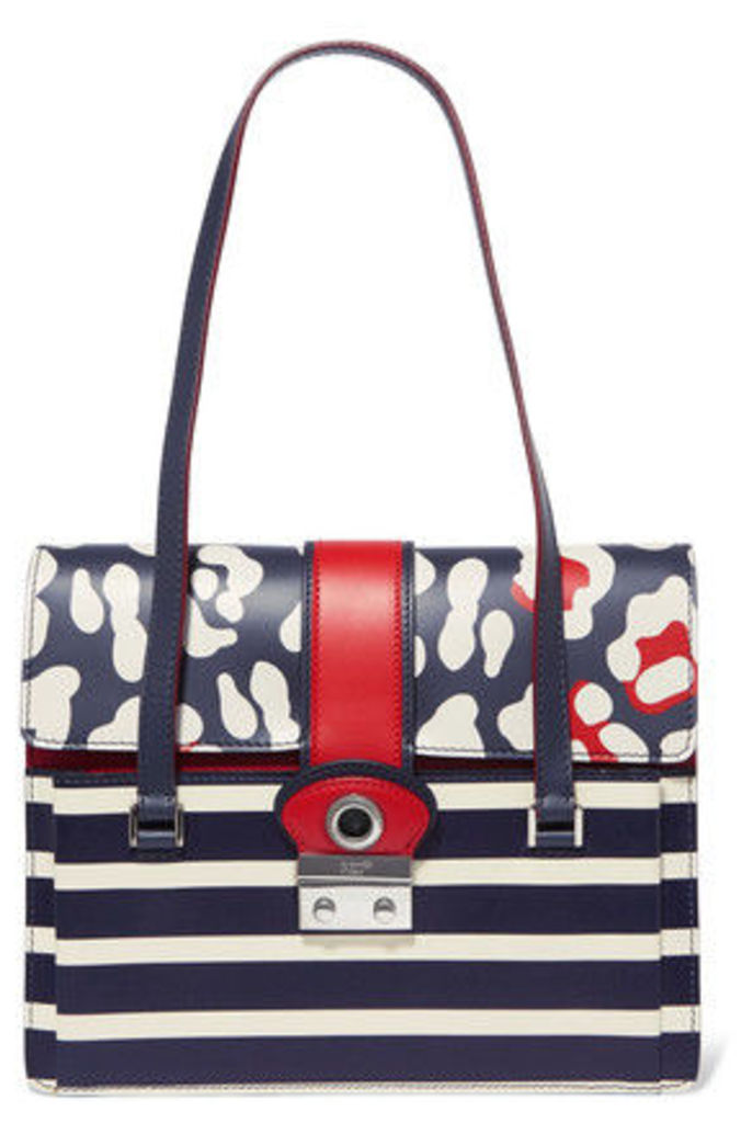 REDValentino - Printed Leather Shoulder Bag - Navy
