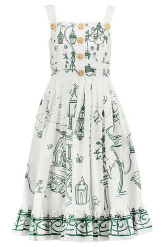 Dolce & Gabbana - Button-embellished Printed Cotton Dress - White