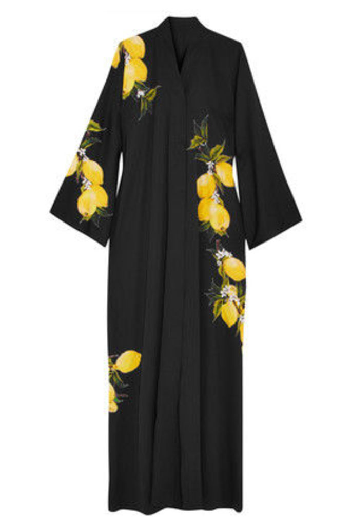 Dolce & Gabbana - Printed Silk-blend Maxi Dress - Black