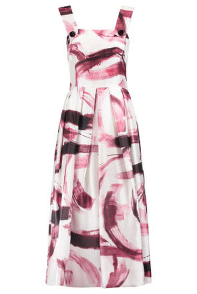 Dolce & Gabbana - Pleated Printed Silk-twill Midi Dress - White