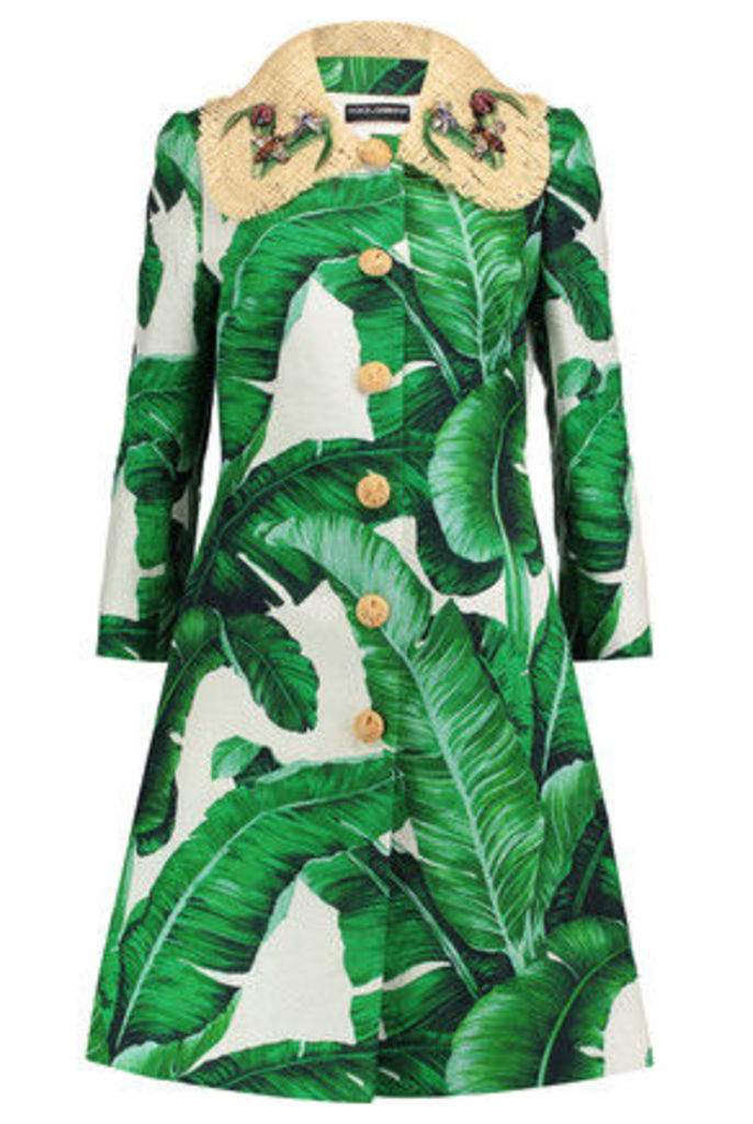 Dolce & Gabbana - Raffia-trimmed Printed Cotton-blend Brocade Coat - Green