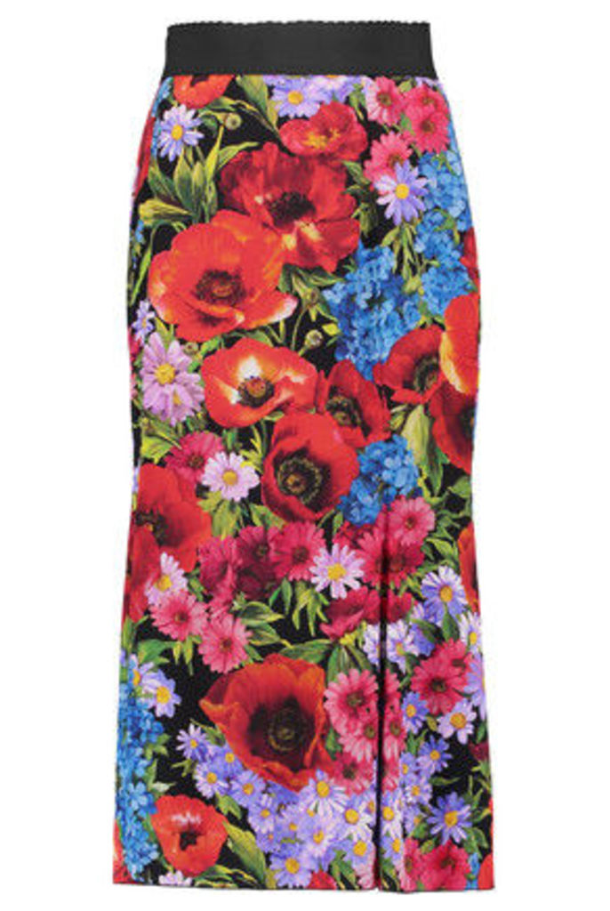 Dolce & Gabbana - Fluted Floral-print Stretch-silk Skirt - Red
