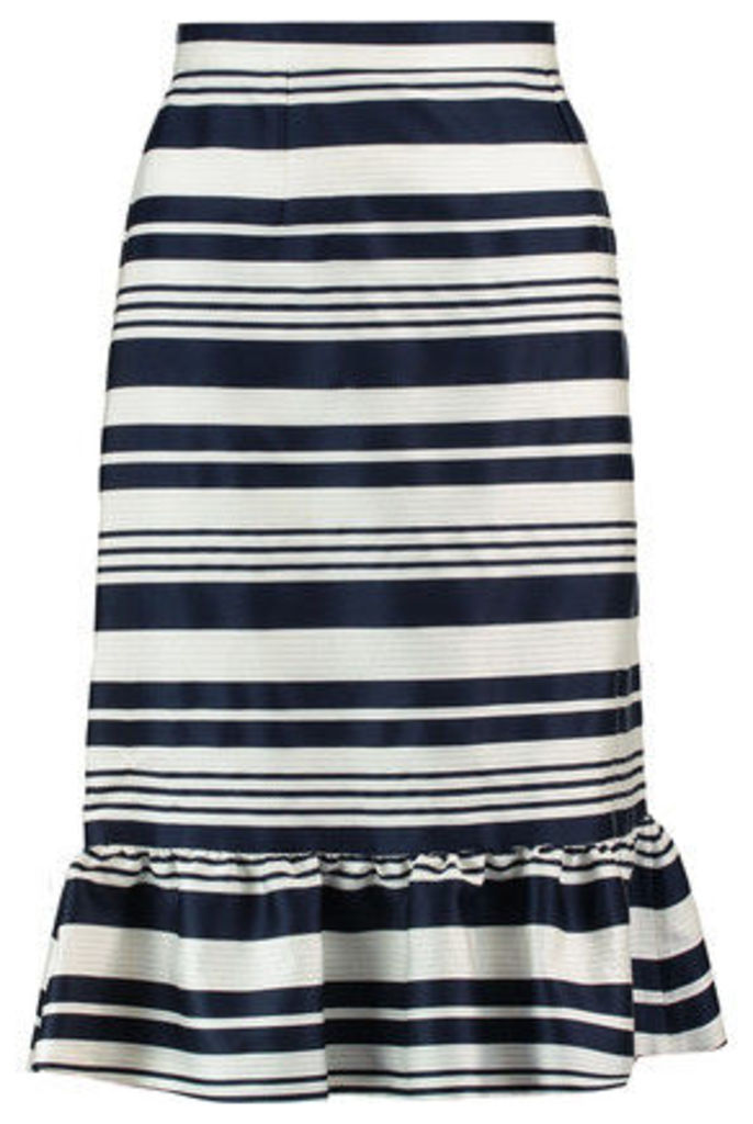 REDValentino - Stripe Ruffle-trimmed Faille Skirt - Blue