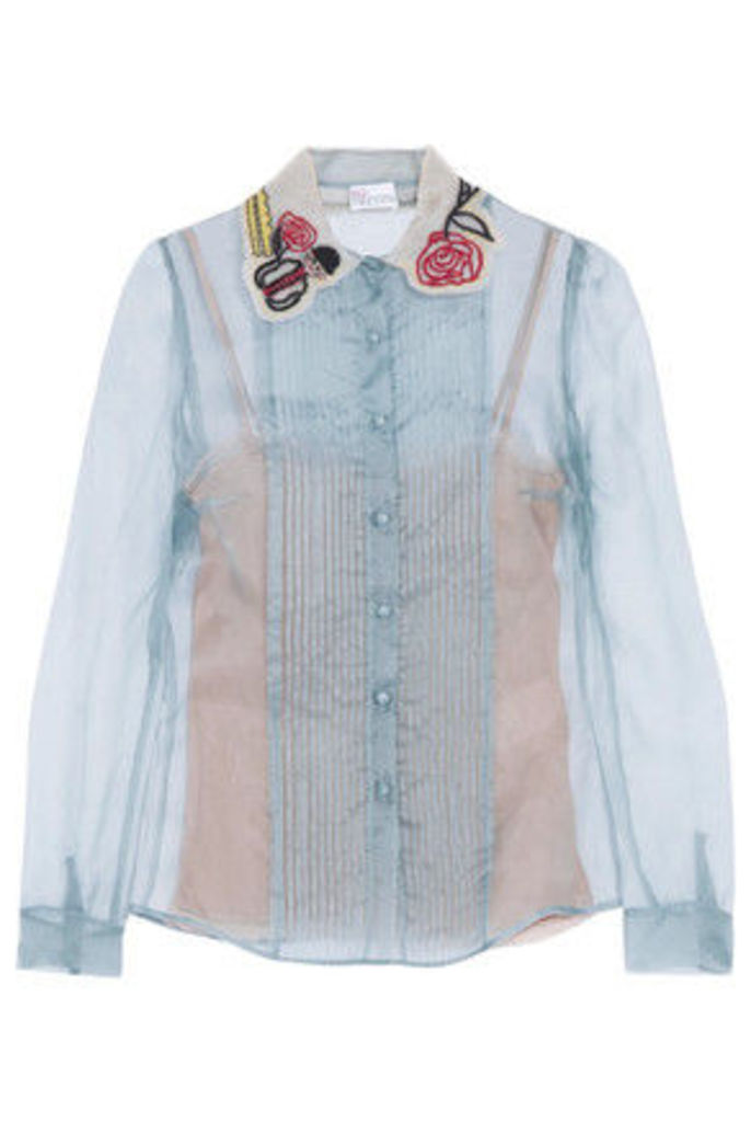 REDValentino - Embroidered Silk Top - Light blue