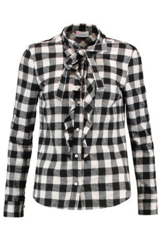REDValentino - Pussy-bow Ruffle-trimmed Checked Brushed Cotton Shirt - Ivory