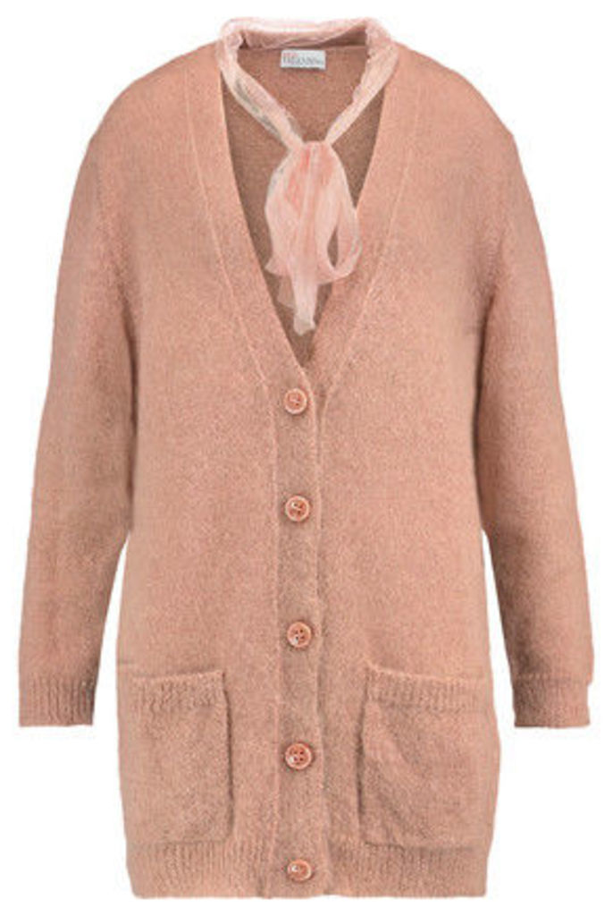 REDValentino - Swiss-dot Mesh-trimmed Mohair-blend Cardigan - Blush