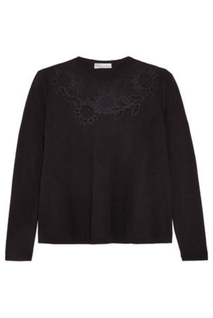 REDValentino - Embroidered Mesh-trimmed Knitted Sweater - Black