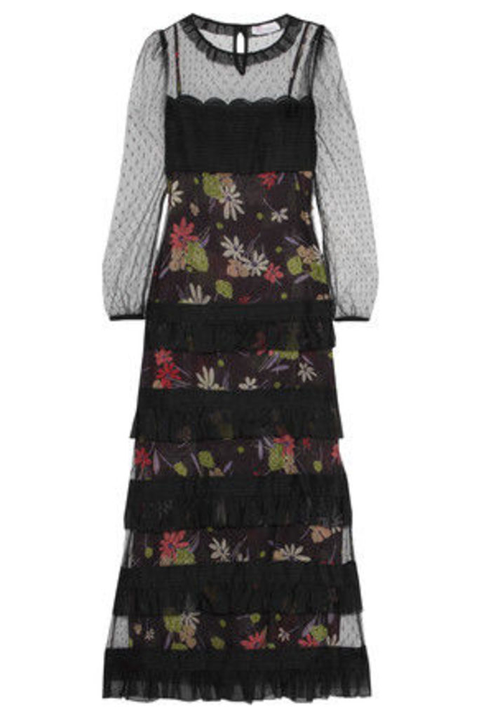REDValentino - Swiss-dot Tulle-paneled Tiered Printed Chiffon Maxi Dress - Multi