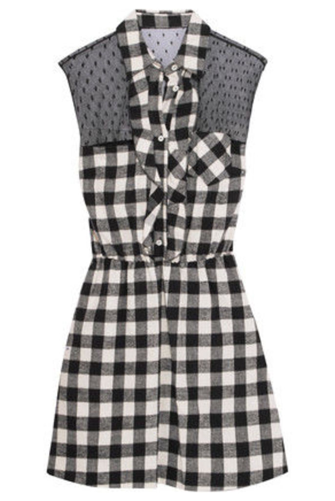 REDValentino - Ruffled Swiss-dot Tulle-paneled Checked Cotton Mini Dress - Ivory