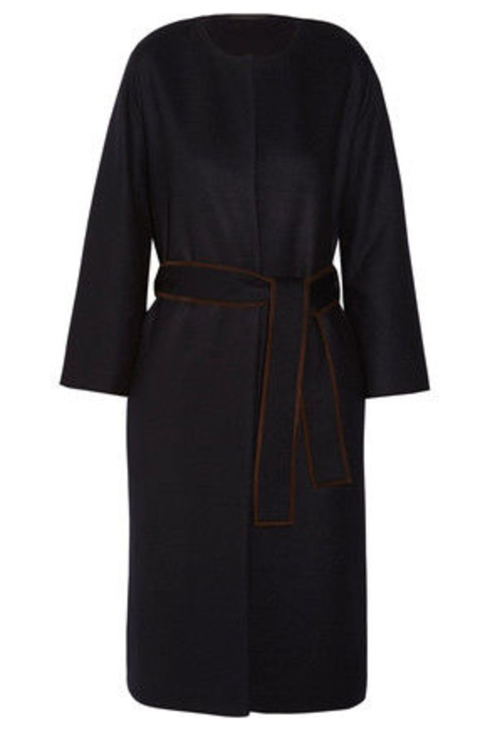 The Row - Duna Belted Suede-trimmed Felted Wool-blend Coat - Navy