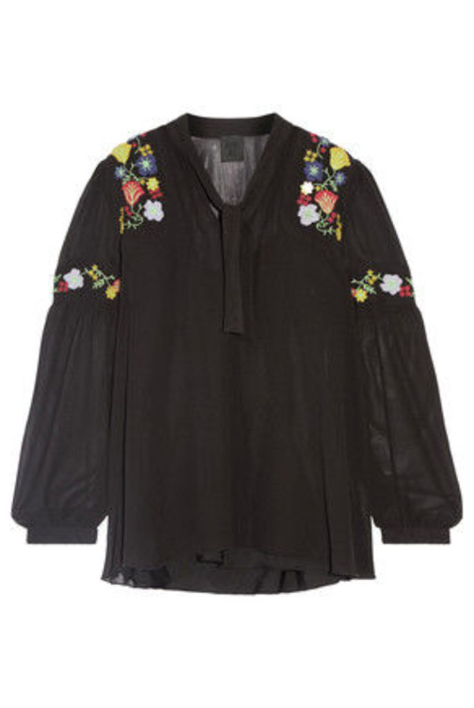 Anna Sui - Garden Embroidered Georgette Blouse - Black