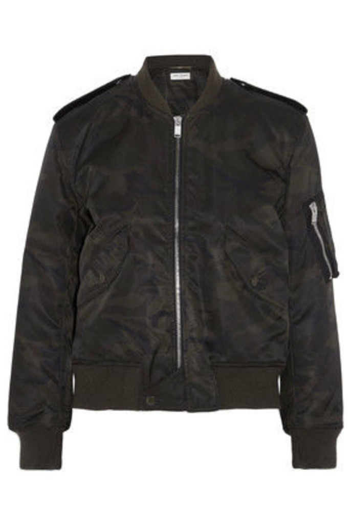 Saint Laurent - Camouflage-print Shell Bomber Jacket - Army green