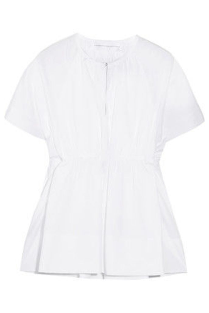 Victoria, Victoria Beckham - Gathered Cotton-poplin Top - White