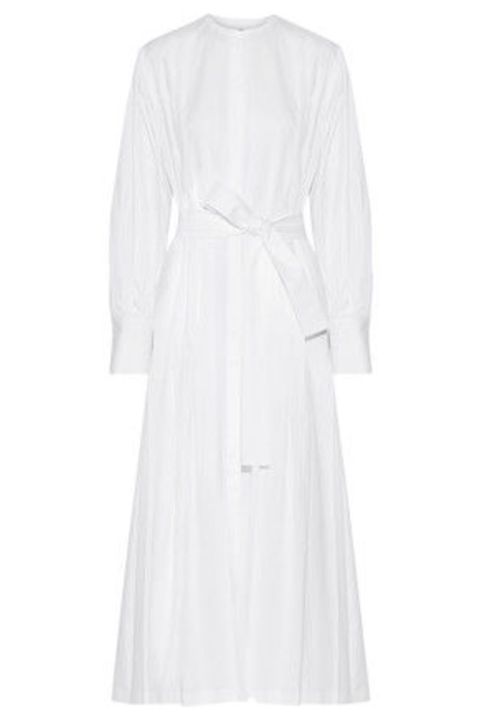 The Row - Crimson Pleated Cotton-poplin Maxi Dress - White
