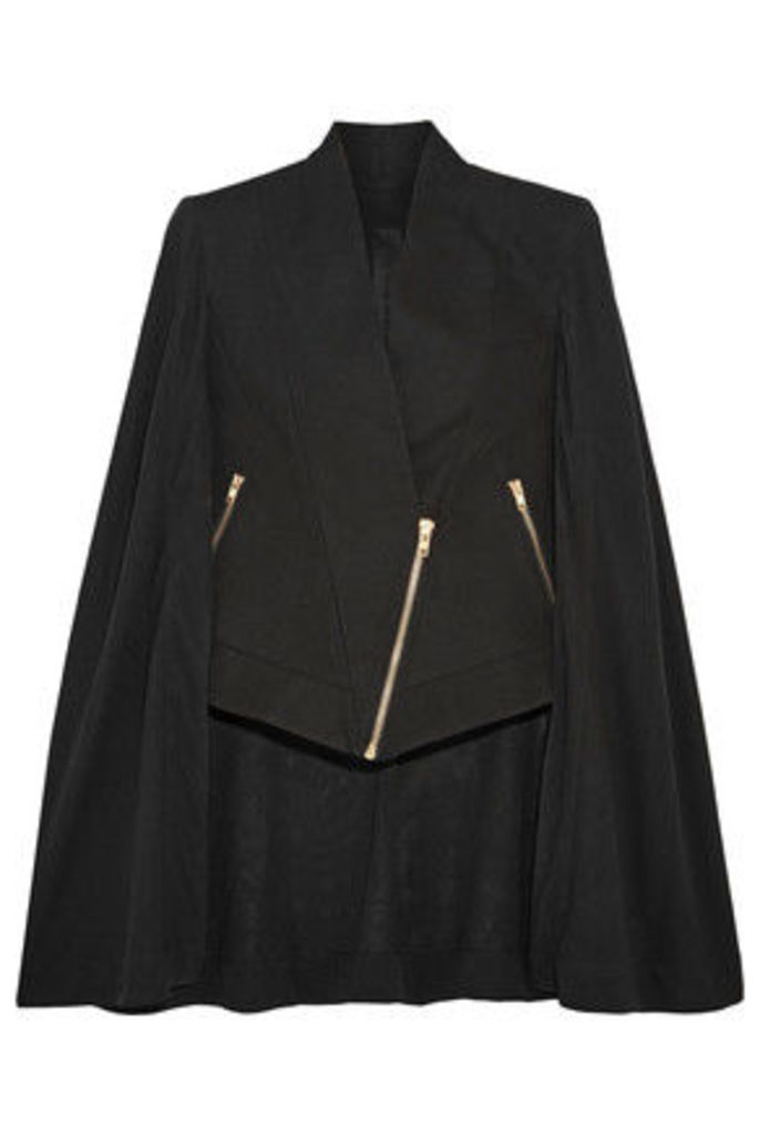 Gareth Pugh - Asymmetric Cotton And Silk-blend Crepe De Chine Cape - Black