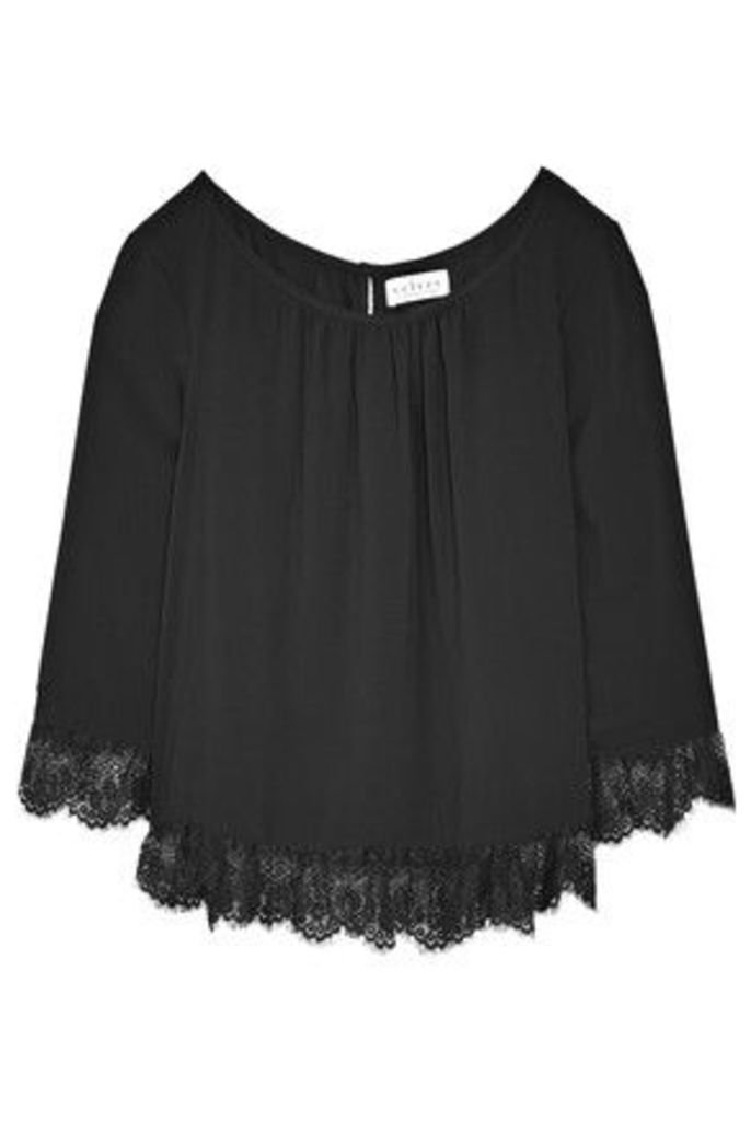 Velvet by Graham & Spencer - Lace-trimmed Poplin Top - Black