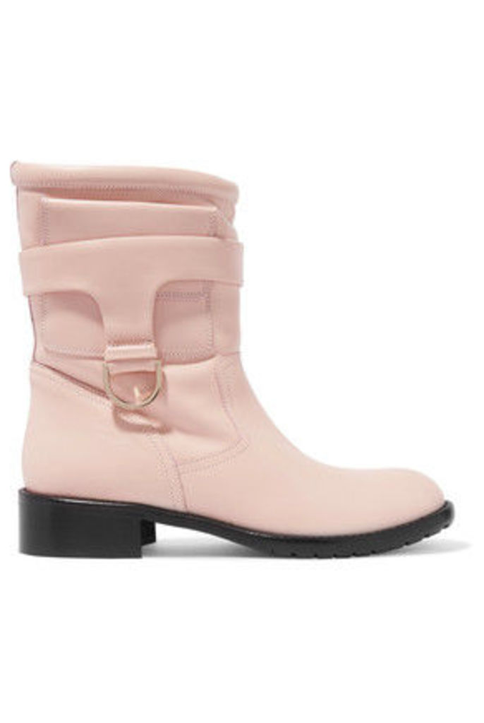 REDValentino - Faux Fur Trimmed Leather Boots - Pastel pink