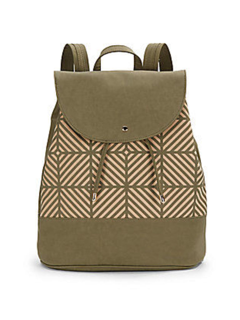 Laser-Cut Faux Leather Backpack
