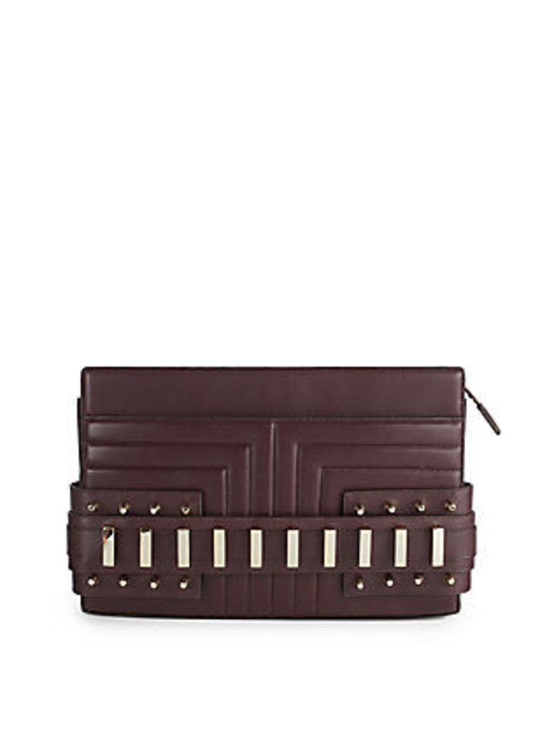 Phoebe Textured Leather Clutch