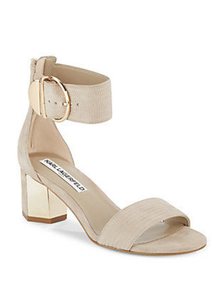 Haila Leather Block Heel Sandals