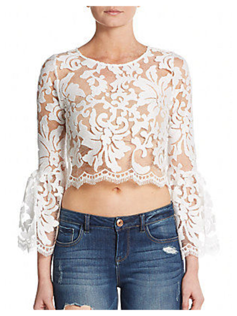Vito Sheer Lace Bell-Sleeve Blouse