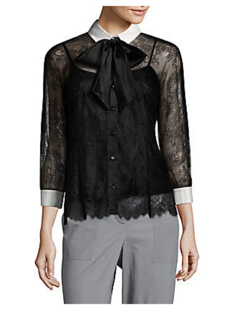 Long-Sleeve Tie Neck Lace Top