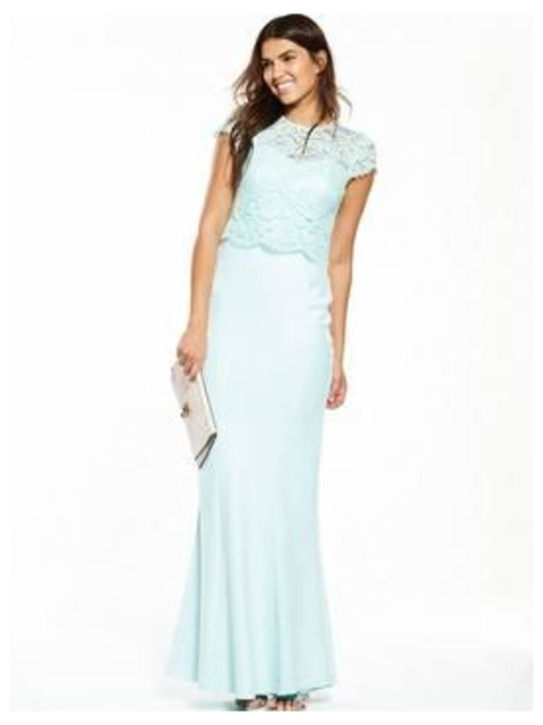 V by Very Lace Overlay Maxi Dress, Mint, Size 12, Women