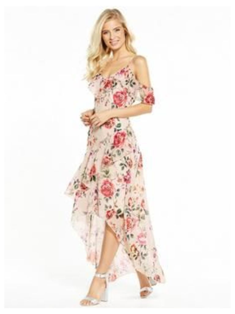 V by Very Cold Shoulder Frill Tiered Maxi Dress, Print, Size 16, Women