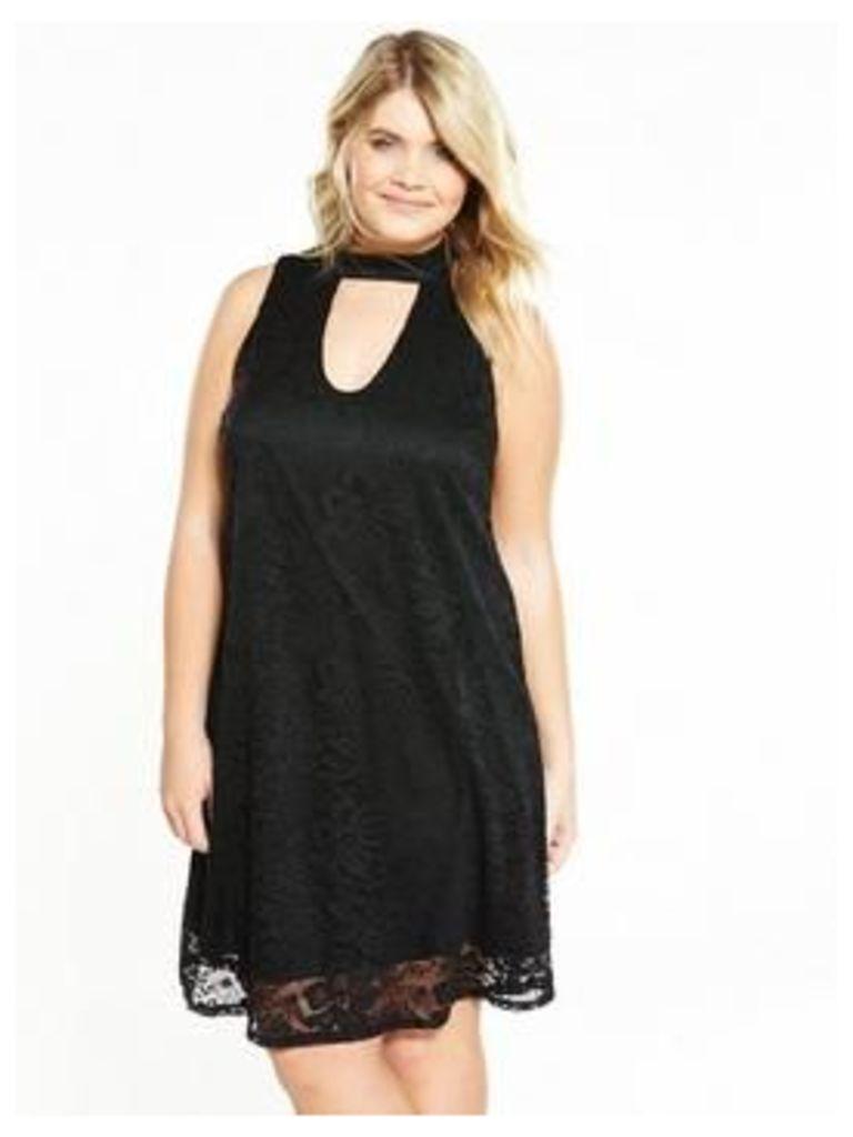 V by Very Curve A-Line Swing Lace Dress, Black, Size 24, Women