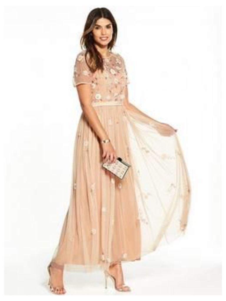 V by Very Embellished Maxi Dress, Blush, Size 14, Women