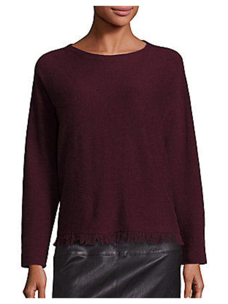 Cashmere & Merino Wool Fringe Hem Sweater