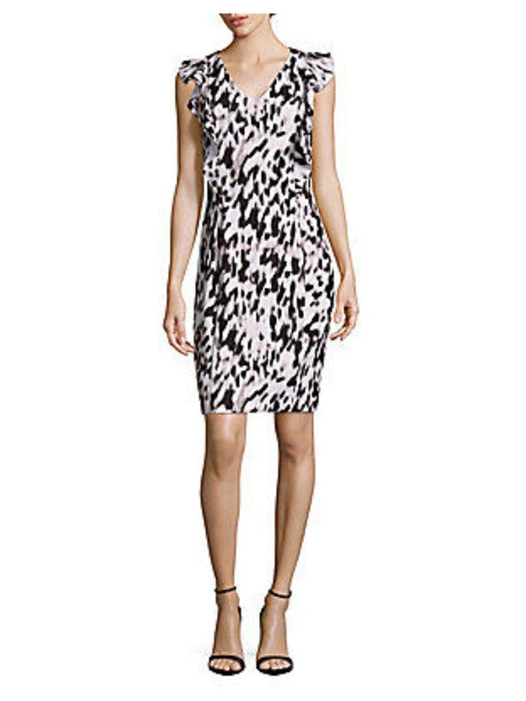 V-Neck Printed Ruffled Dress