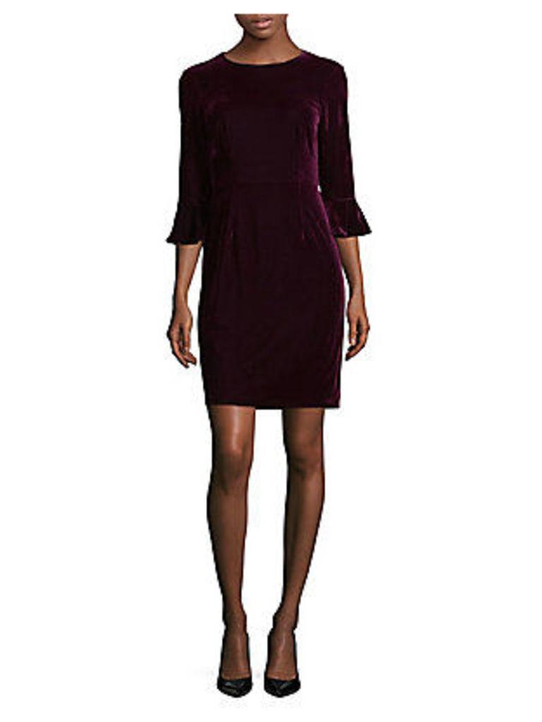 Three-Quarter Bell Sleeve Velvet Sheath Dress