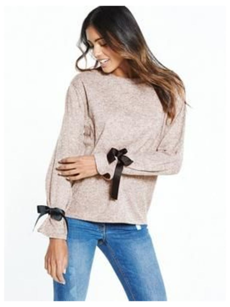 V by Very Tie Sleeve Cuff Jersey Knit Top, Blush, Size 18, Women