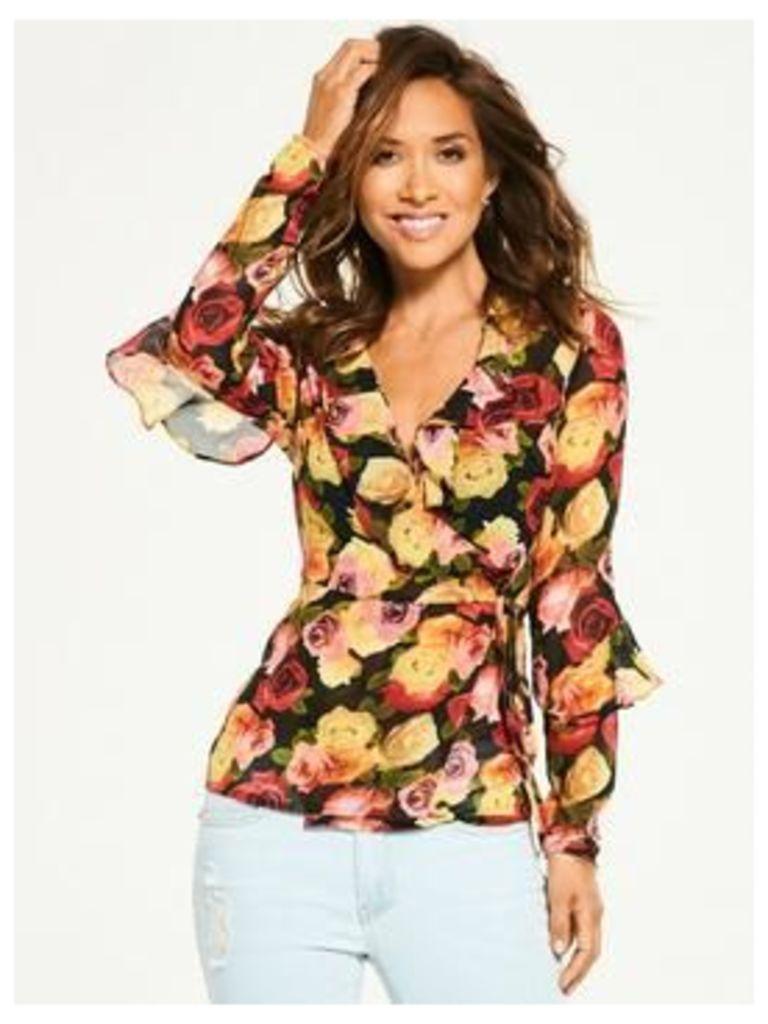 Myleene Klass Ruffle Front Blouse, Print, Size 10, Women