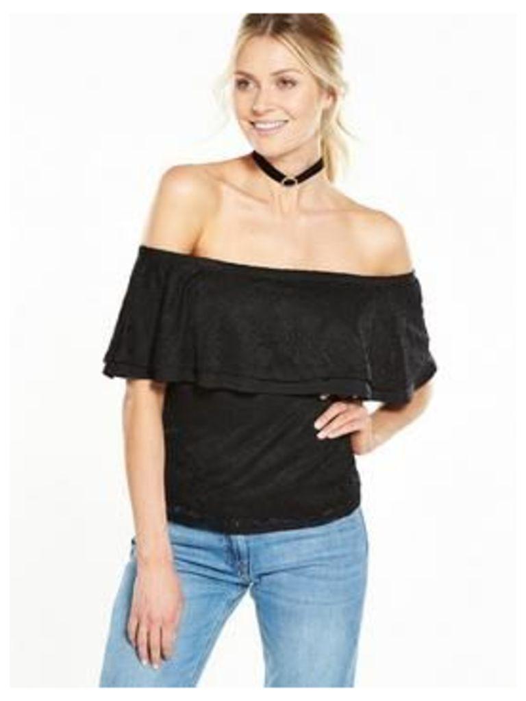V by Very Bardot Lace Top, Black, Size 18, Women