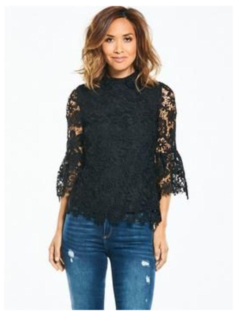 Myleene Klass Lace Flute Sleeve Blouse - Black, Black, Size 18, Women