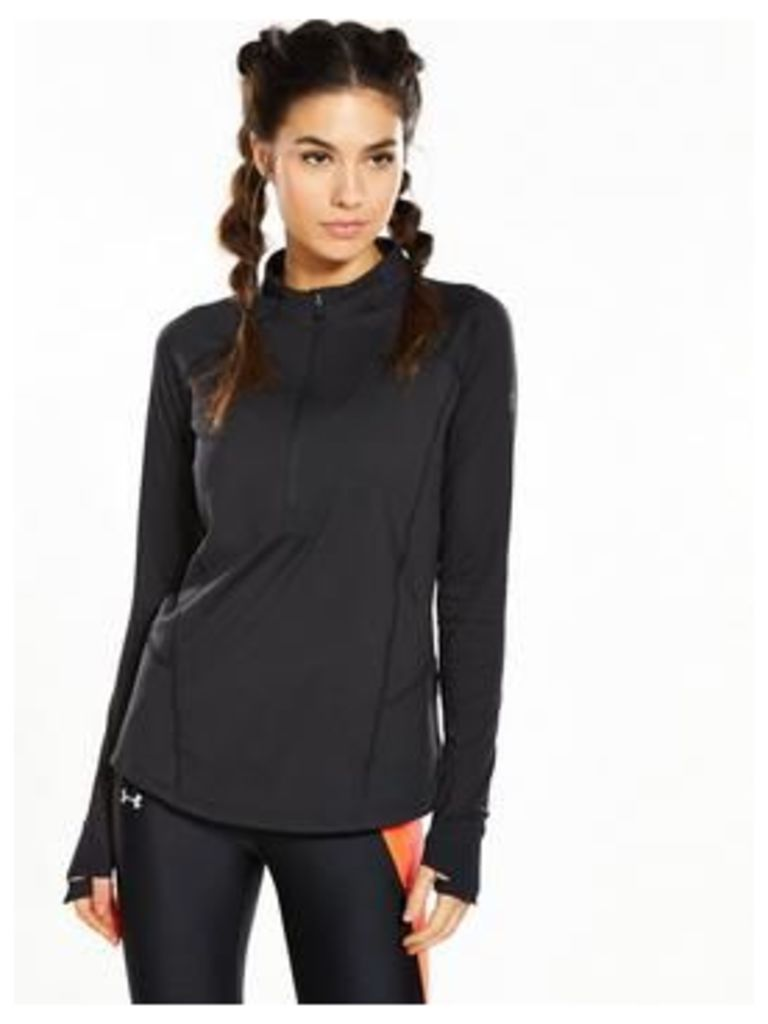UNDER ARMOUR Run True Half Zip Long Sleeve Top - Black , Black, Size Xs, Women