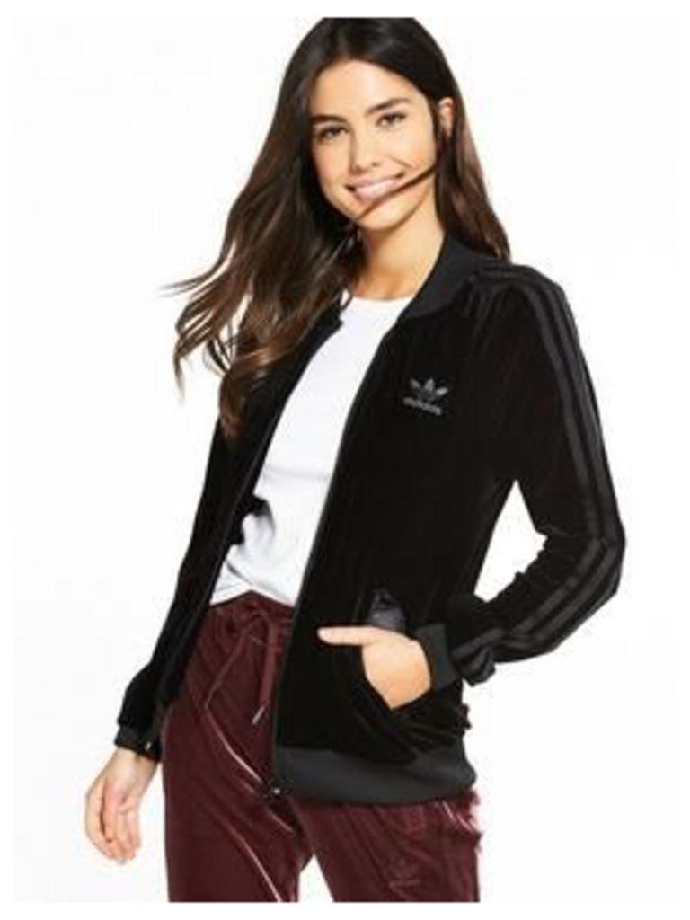 adidas Originals Velvet Vibes Track Top - Black , Black, Size 10, Women