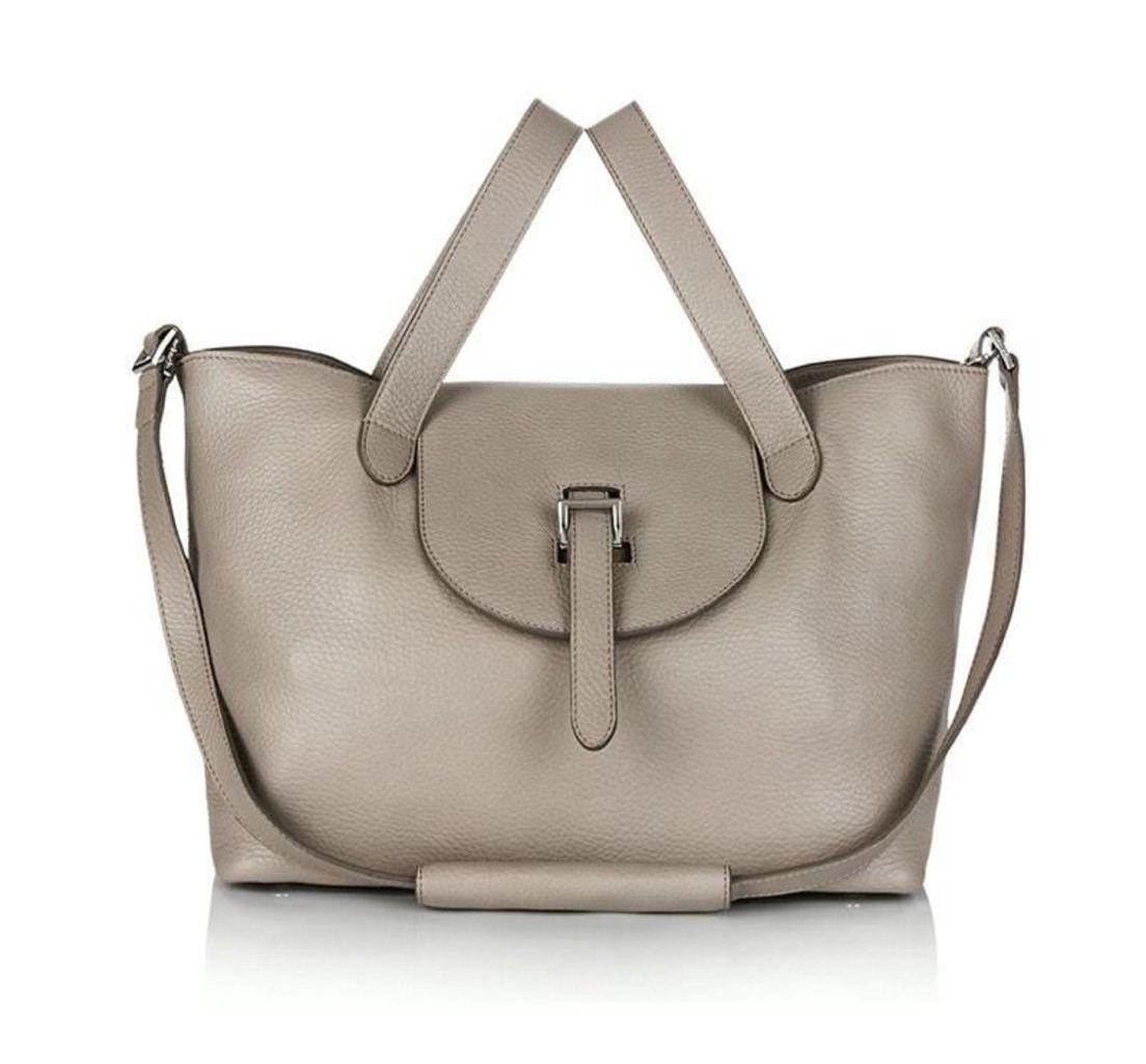 Thela Medium Tote Bag Zipper Taupe