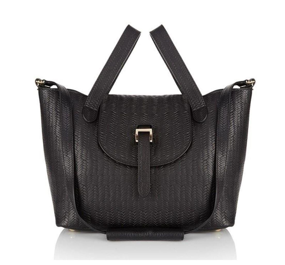 Thela Medium Tote Bag Black Woven