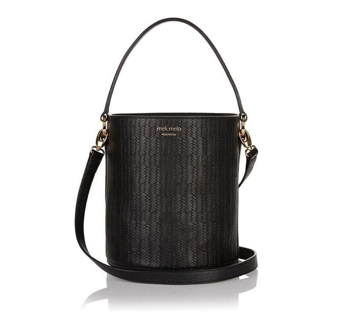 Santina Bucket Bag Black Woven
