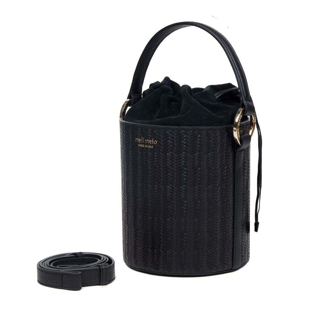Santina Mini Bucket Bag Black Woven