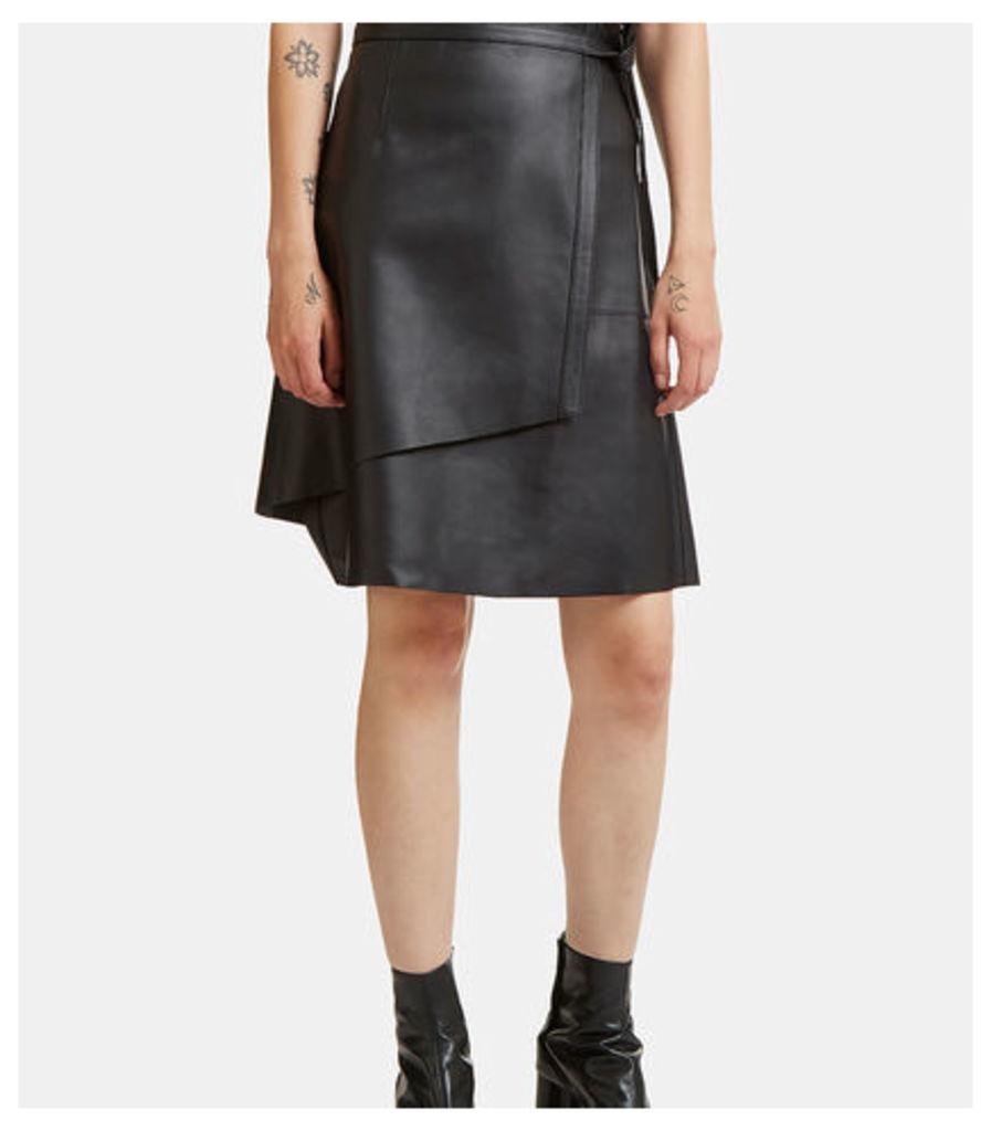 Lakos Leather Wrap Skirt