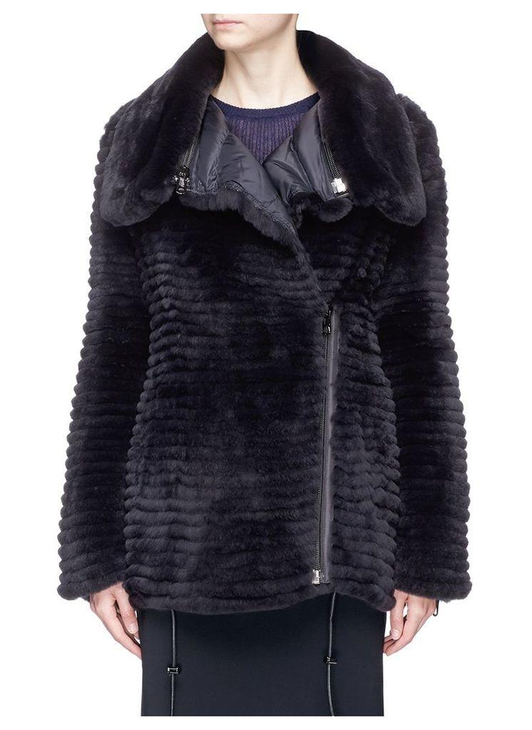 Reversible Rex rabbit fur down puffer coat